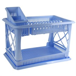 """Сушилка для посуды ПЦ 1558 """"Лилия"""" 2-ярусная с сушилкой для столовых приборов голубой - фото 7941"""