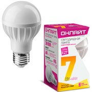 Лампа светодиодная ОНЛАЙТ A60 7W E2727/теплый  71647