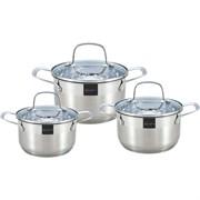 Набор посуды RAINSTAHL RS-1615-06 6 предметов /стеклянные крышки  5-ти шаговое  дно