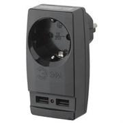 Адаптер ЭРА Polynom  SP-1e-USB-B  1гн 220V  2xUSB 2100mA  c заземлением черный