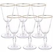 Набор фужеров Pasabahce 440060B1 для вина РЕТРО 6 штук золотая кайма