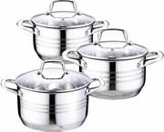 Набор посуды Wellberg WB-1645/2, 6 предметов, нержавеющая сталь