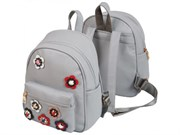 Рюкзак молодежный deVENTE 29х24х16 см, кожзам, 1 отделение, аппликация, серый,  7032863
