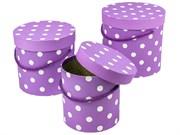"""Набор коробок 3 в 1 """"Горох"""" круглые, 18х18х17 см, сиреневый"""