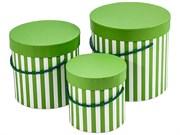 """Набор коробок 3 в 1 """"Полоска"""" круглые, 18х18х17 см, зеленый"""
