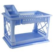 """Сушилка для посуды ПЦ 1558 """"Лилия"""" 2-ярусная с сушилкой для столовых приборов голубой"""